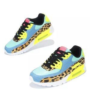 Multicolored Leopard Print Ombre Sneakers